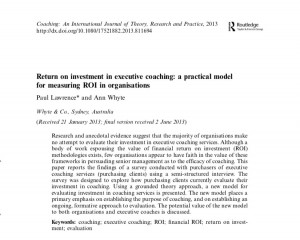 Coaching: An International Journal of Theory, Research and Practice