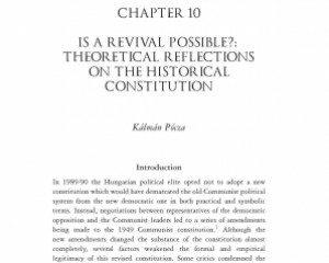 Lorman, Thomas and Hörcher, Ferenc (eds.): A History of the Hungarian Constitution, London: IB Tauris, pp. 211-236
