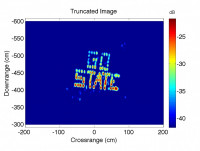 X-band radar image of 'GO STATE' in pushpins.