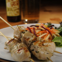 Grilled Chicken Skewers with Sunbutter Sauce and Root Vegetable Slaw