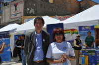 Paul with Dra Nardi Suxo, Bolivian Minister of Institutional Transparency