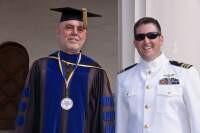 Distinguished Professor Thomas Bruneau with Graduating U.S. Naval Officer.