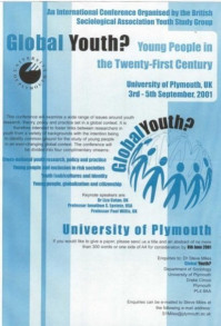 Flyer fort he 2001 Global Conference on Youth, University of Plymouth
