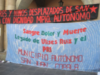 Triqui protest banner in Oaxaca, Mexico, 2012