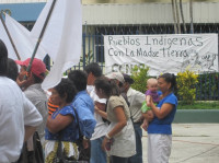 Indigenous rights protest in San Salvador, my baby as participant observer, 2012