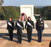 Presenting flowers to the Fallen Heroes Memorial in Arlington National Cemetery