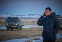 Satphone call in Mongolia