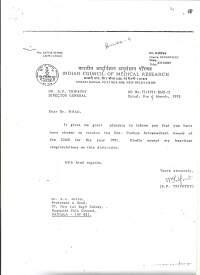 Indian council of Medical Research Award