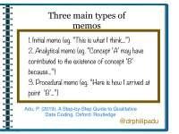 Three main types of memos