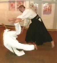 Dr. Arus demonstrates an aikido kaiten-nage technique